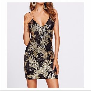 Black gold sequin bodycon dress